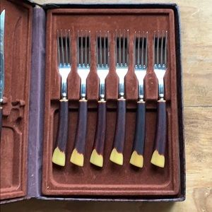 Vintage Flatware Glohill Set with Case Stag Bone
